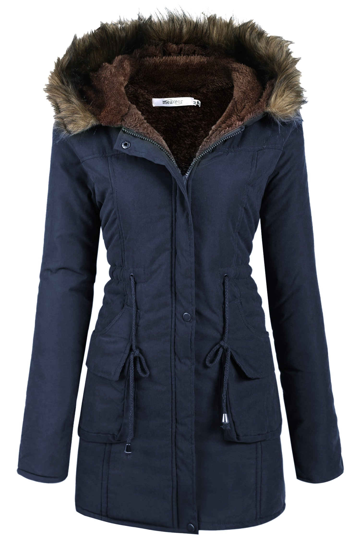 Womens Military Hooded Warm Winter Faux Fur Lined Parkas Anroaks Long Coats, Medium, Style 2: Navy Blue 2