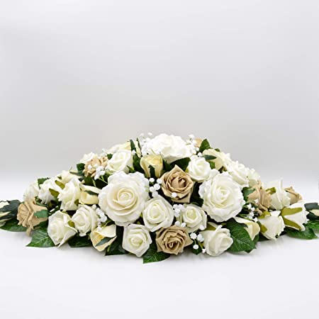 Artificial Wedding Flowers Hand Made By Petals Polly Top Table Decoration Cappuccino Ivory Roses With Ranunculus