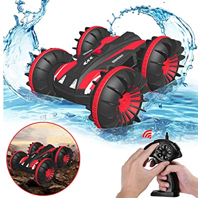 Gifts for 5-12 Year Old Boys Pussan Amphibious Remote Control Car for Kids and Adults 2.4 GHz RC Stunt Car for Boys Girls 4WD Off Road Monster Truck Gifts Remote Control Boat Summer Beach Toy SLC Red: Toys & Games