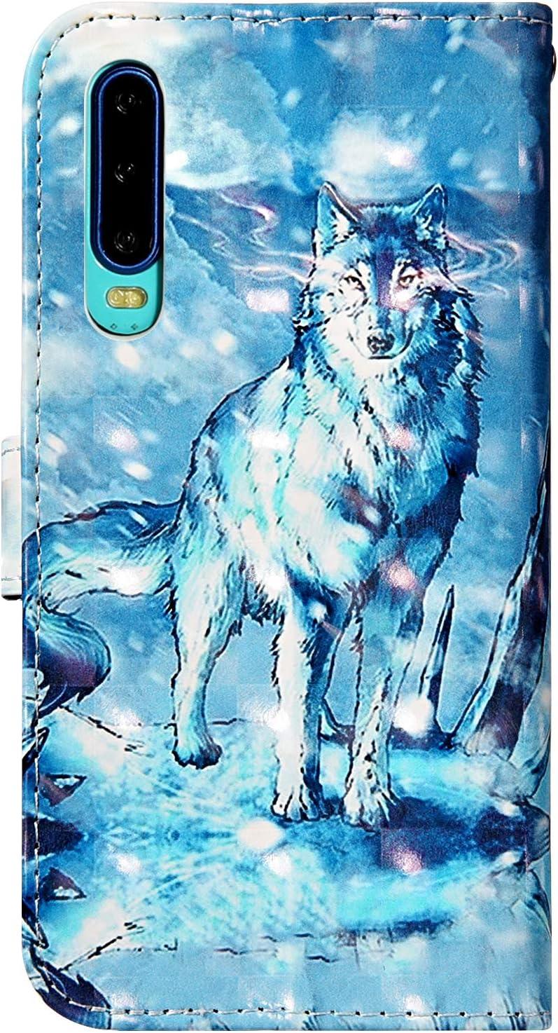 Urhause Custodia Huawei P30 Custodia Cover con Disegni 3D Pelle Libro Flip Portafoglio PU Caso Slot per Schede Funzione Supporto Magnetica Bumper Protettiva per Huawei P30,Gattino