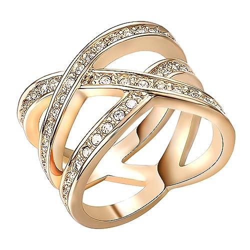 Yoursfs Anillos para mujer tres veces chapado en oro/oro blanco 18k con circones