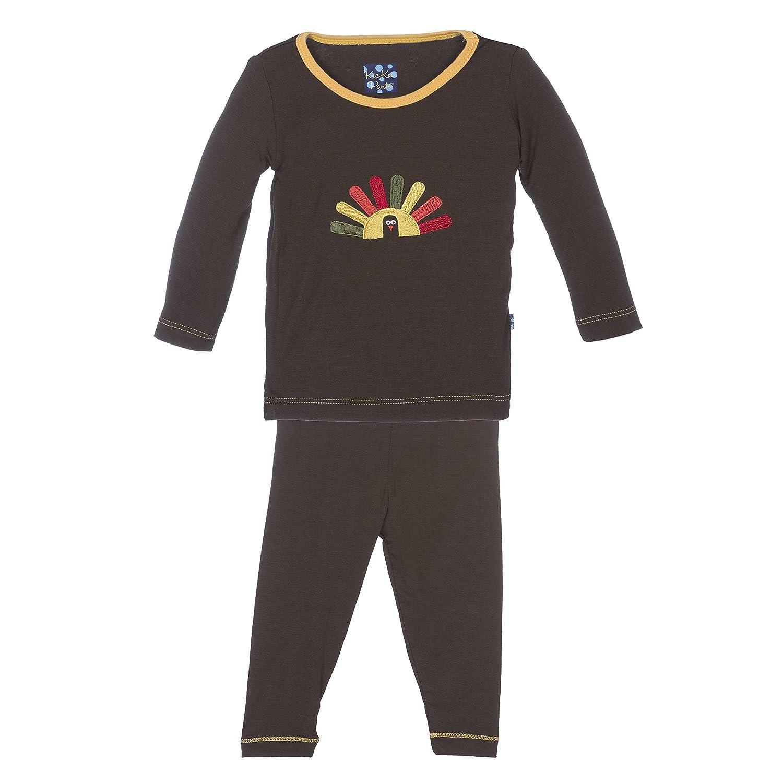 KicKee Pants Little Boys Holiday Long Sleeve Applique Pajama Set Boys 8 Bark Turkey
