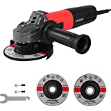 MANUSAGE 7-Amp Angle Grinder,4-1/2 inch Power Grinder with 115mm Grinding Abrasive Wheels,Cutting Abrasive Wheels and 3…