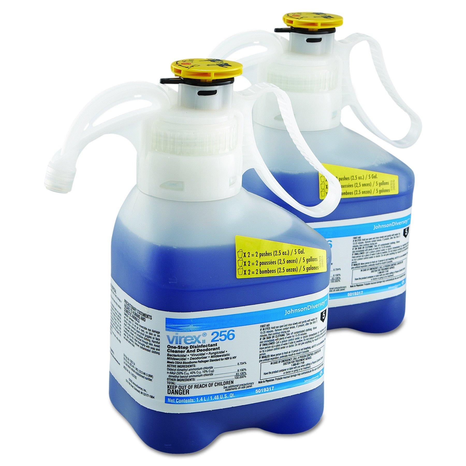Diversey 5019317 256 Virex One-Step Disinfectant Cleaner Deodorant, Mint Scent, Liquid, 47.3 oz. (2 bottles)