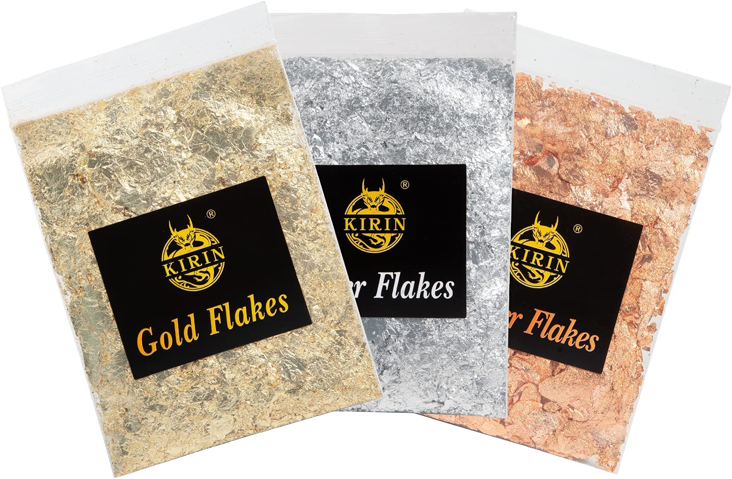 Imitation Gold Leaf Flakes Kirin 3 Bottles Gilding Metallic Foil Flakes for Slime Crafts Painting Furniture Nails Art Resin Jewelry Making (Gold Silver Copper Colors 9g-3 g/Bag)