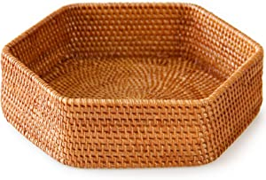 Rattan kouboo Tray Perfect for Indie Room Decor, Bathroom Tray or Key Bowl for entryway Table. Also Ideal as Ottoman Tray for Living Room. This Woven Basket is a Really Cute Room Decor