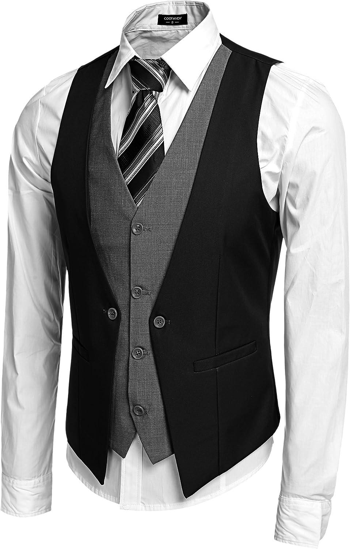 Coofandy Men's Formal Layered Slim Fit Suit Vest Premium Business Waistcoat