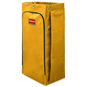Rubbermaid Commercial 1966881 Vinyl Cleaning Cart Bag, 34 gal, Yellow, 17 1/2w x 10 1/2d x 33h