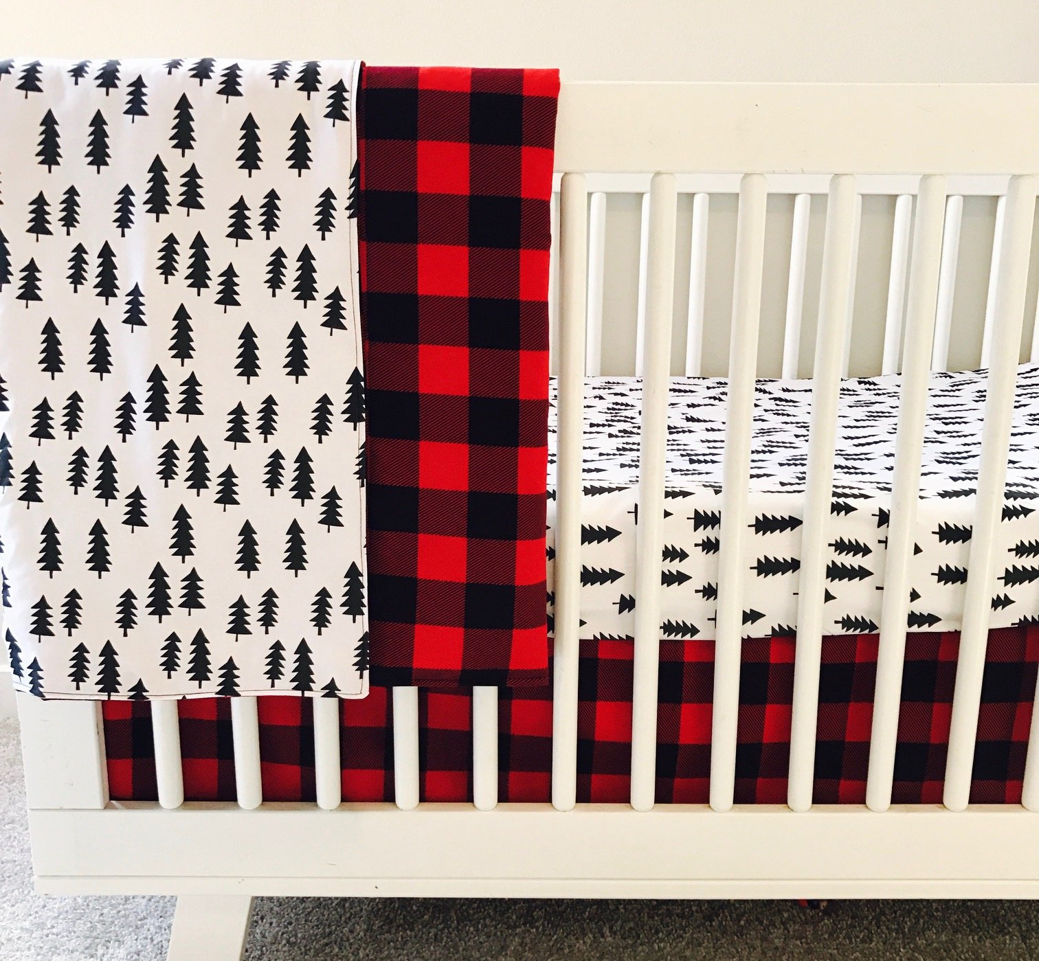AllTot Crib Bedding Set- Forest Adventure - 3 Piece Boy crib bedding set in Red and Black Buffalo Plaid Pine Trees - Handmade in The USA