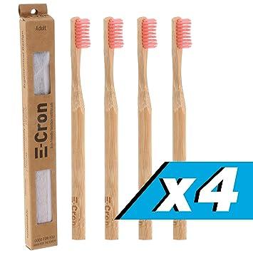 4 x Cepillo de dientes de bambú E-Cron con un mango respetuoso con el medio ...