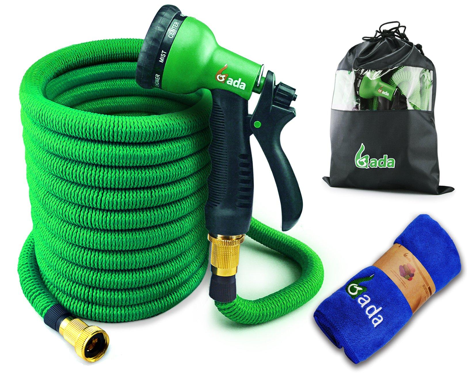 Gada Flexible Garden Hose Set 75 FT Heavy Duty Double Latex Core Expandable Water Hose-Including A 8 Function Sprayer Nozzle, 3/4 USA Standard Connector-1 Year Warranty (Green)