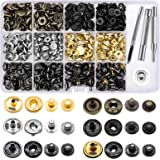 120 Set Leather Snap Fasteners Kit, 12.5mm Metal Button Snaps Press Studs with 4 Setter Tools, 6 Color Leather Snaps for Clot