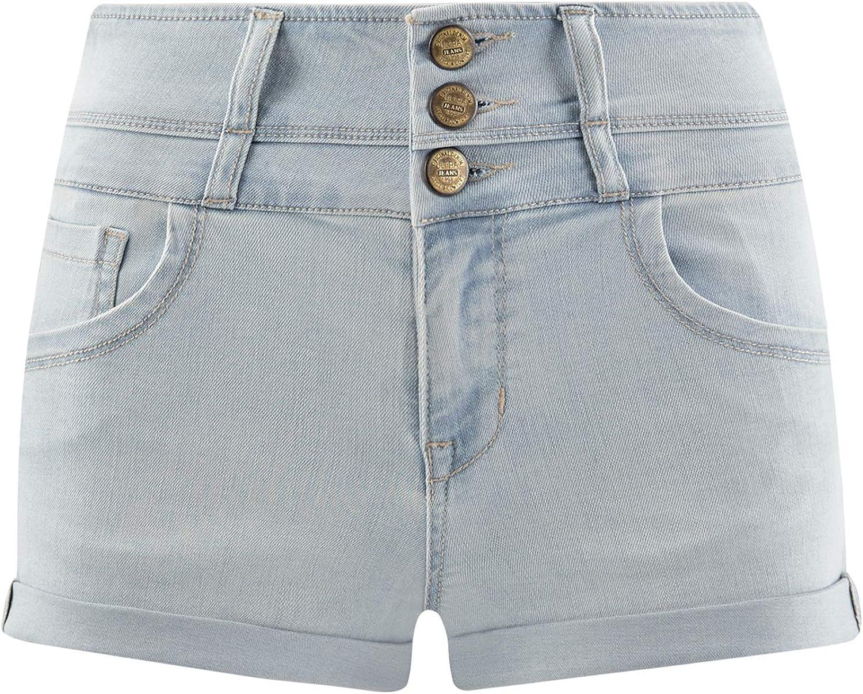 oodji Ultra Donna Shorts in Jeans con Vita Alta