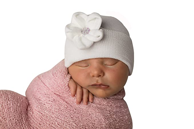 3e17ca2c7a6 Image Unavailable. Image not available for. Color  Melondipity s Baby White  Rose Sparkle Newborn Girl Hospital Hat