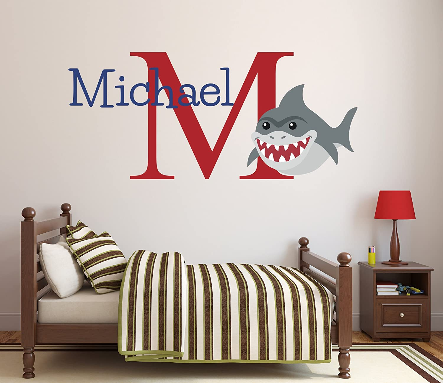"Pinkie Penguin Custom Name Shark Wall Decal Baby Boy Nursery Decor Personalized Kids Gift Vinyl Art (32"" W x 22"" H)"