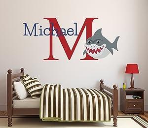 "Custom Name Shark Wall Decal Baby Boy Nursery Decor Personalized Kids Gift Vinyl Art (26""W x 18""H)"
