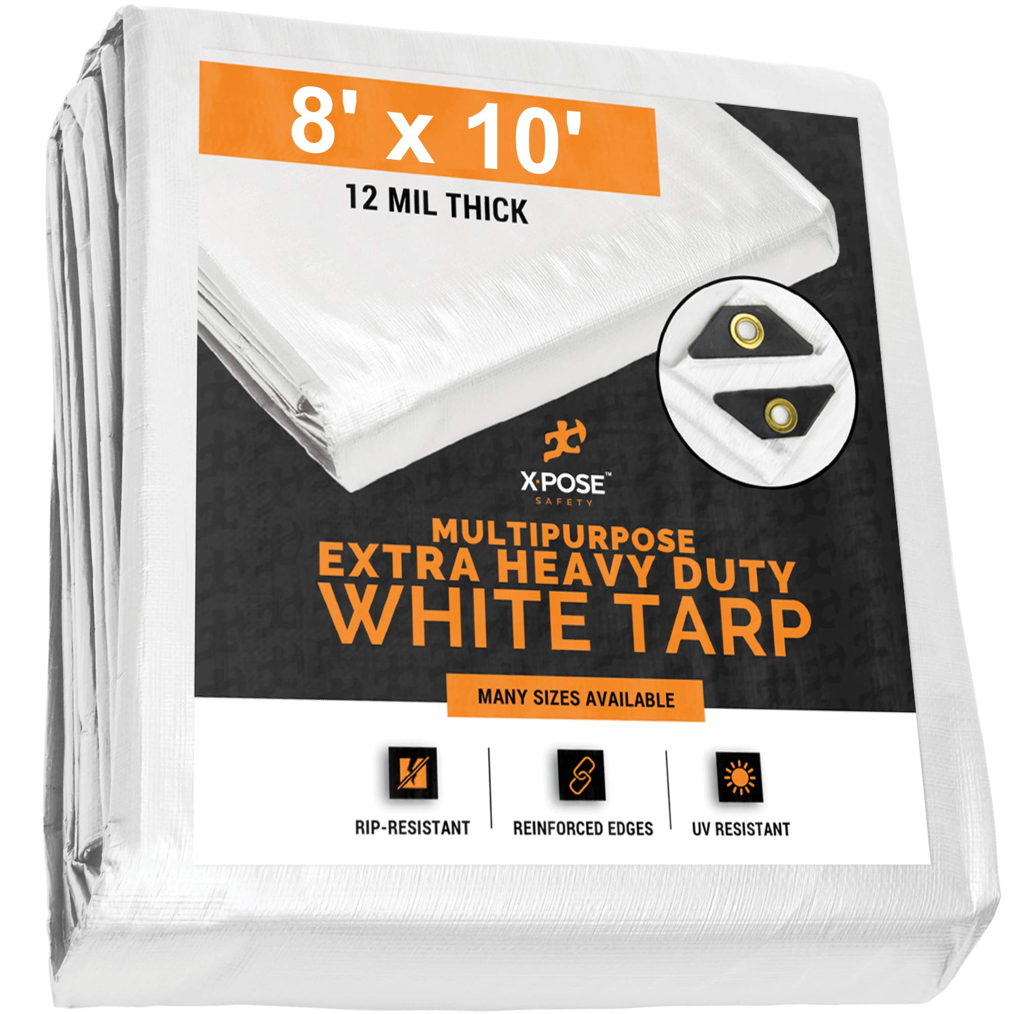 Heavy Duty White Poly Tarp 8' x 10' Multipurpose Protective Cover - Durable, Waterproof, Weather Proof, Rip and Tear Resistant - Extra Thick 12 Mil Polyethylene - by Xpose Safety by Xpose Safety