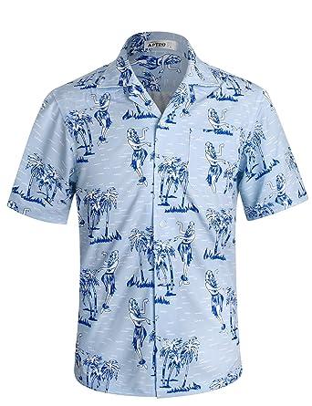 dcd345c0d798 APTRO Herren Hemd Strandhemd Hawaiihemd Kurzarm Urlaub Hemd Freizeit Reise  Hemd Party Hemd  Amazon.de  Bekleidung