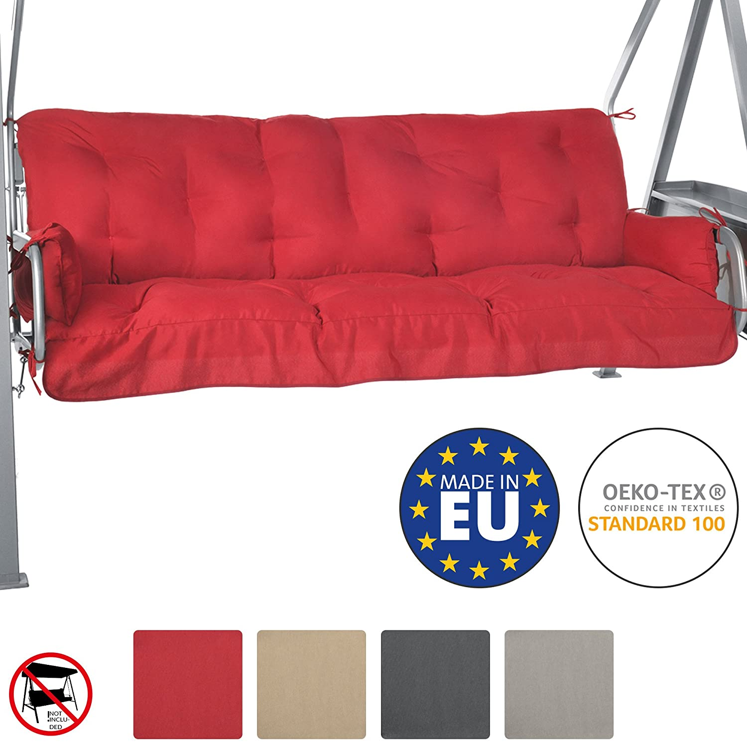 Beautissu Bench Cushion For Canopy Swing Seat Flair HS 180 x 50 x 8 cm 3 Seat Hammock Cushion Flake Filling Natural
