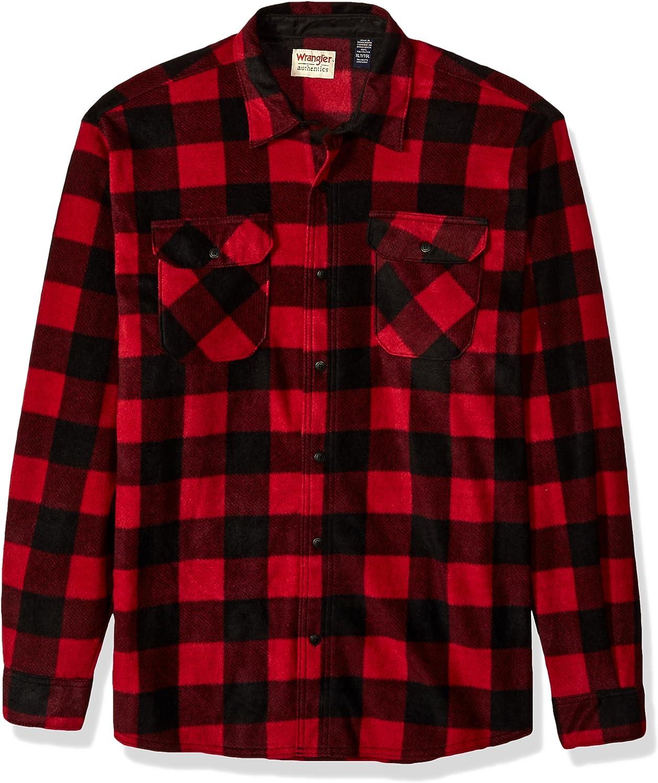 Wrangler Authentics Men's Long Sleeve Heavyweight Plaid Fleece Shirt at  Men's Clothing store