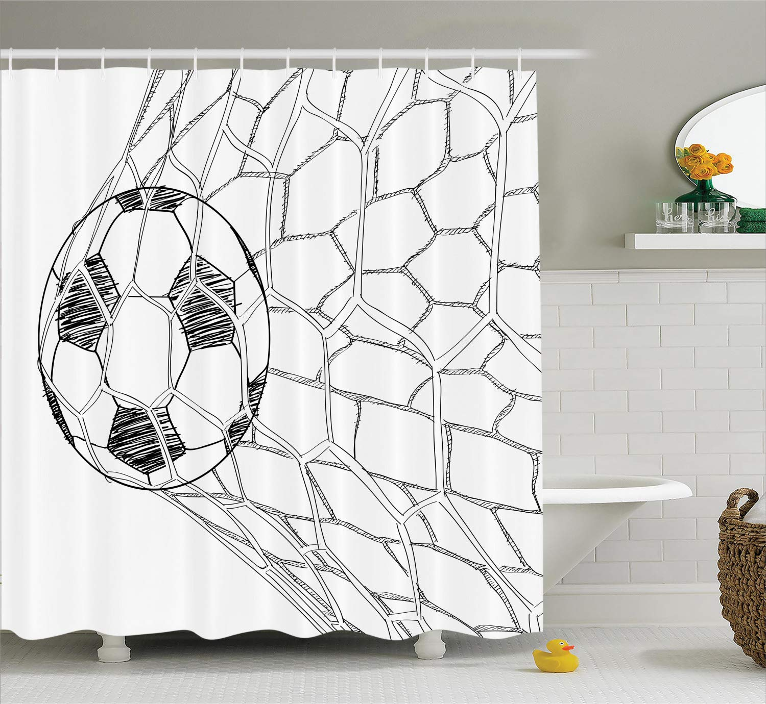 Ambesonne Soccer Shower Curtain, Soccer Ball in Net Goaly Position Sports Competition Spectators Hand Drawn Style, Cloth Fabric Bathroom Decor Set with Hooks, 75'' Long, Black White