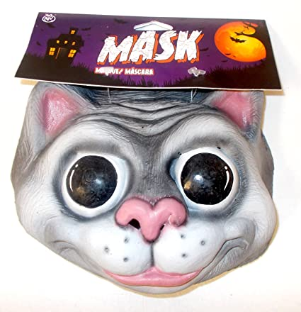 Caretas Rev Gray Cat Costume Mask Adult OSFM NIP