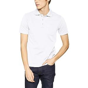 [セシール] ポロシャツ ディリーポロシャツ 綿100% 半袖 多サイズ 胸ポケット付き JK-275 メンズ ホワイト 日本 M (日本サイズM相当)