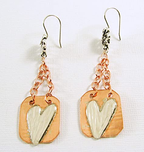 8302cbc8c Amazon.com: Mixed Metal Copper and Sterling Heart Earrings: Handmade