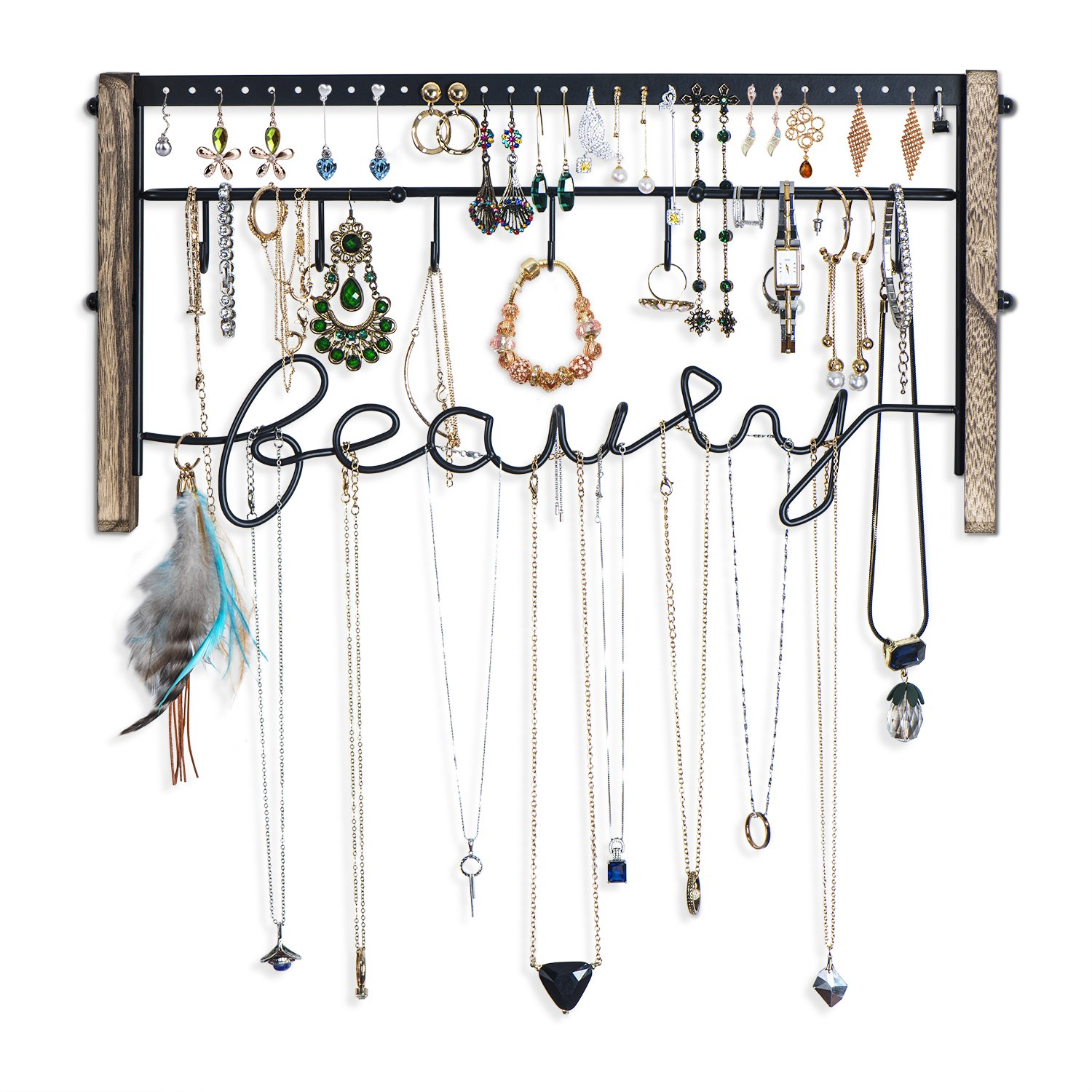 Love-KANKEI Jewelry Organizer Wall Mount - Black Metal & Rustic Wood Necklace Organizer Holder for Earrings Rings Bracelets and Necklaces by Love-KANKEI (Image #5)