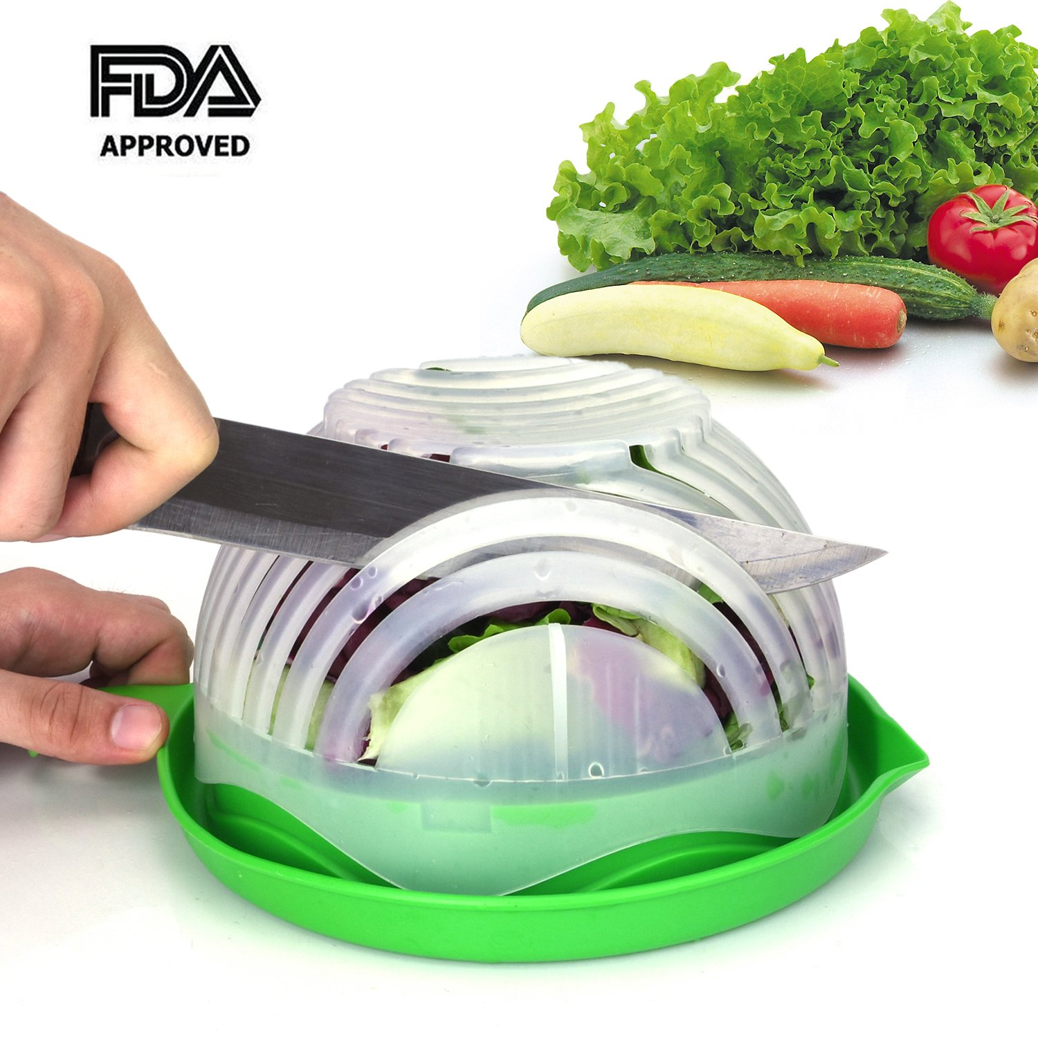 Amazon.com: Salad Cutter Bowl Upgraded Salad Maker by WEBSUN Easy ...