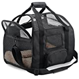 """Pet Carrier Airline Approved Cat Carrier Soft-Sided & Portable & Under Seat Travel Bag with Fleece Pad Durable & Premium Mesh Carrier For Cats, Dogs, and Small Pets - 18""""L x 10""""W x 13""""H"""
