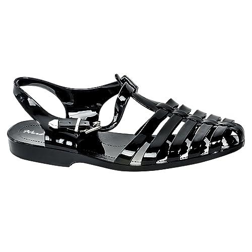 542d53d49f0ba Amazon.com Herstyle Women s Manmade Bequia Gladiator-Style Jelly Sandal  Black 8 Flats ...