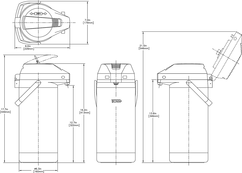 Bunn 2.5L 3.0L 3.8L Commercial Airpot Coffee Server Dispenser
