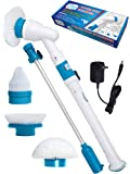 Power Spin Scrubber Cleaning Brush - Upgraded Deluxe Electric Scrubber with 3 Brush Heads, Extension Pole, Rechargeable Battery - Turbo Cordless Handheld Bathroom, Floor, Tile, Shower, Bathtub Cleaner