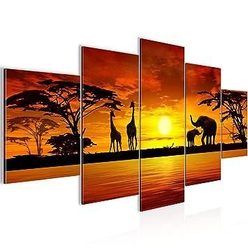 Bilder Afrika Sonnenuntergang Wandbild 200 X 100 Cm Vlies Leinwand Bild Xxl Format Wandbilder Wohnzimmer Wohnung Deko Kunstdrucke Orang 5 Teilig