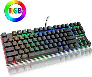 ZUOYA RGB Mechanical Gaming Keyboard Small Compact 87 Keys Anti-ghosting RGB LED Backlit Keyboard with Red Switch Wired USB for Windows PC Laptop Computer Game (RGB Backlight Red Switch)