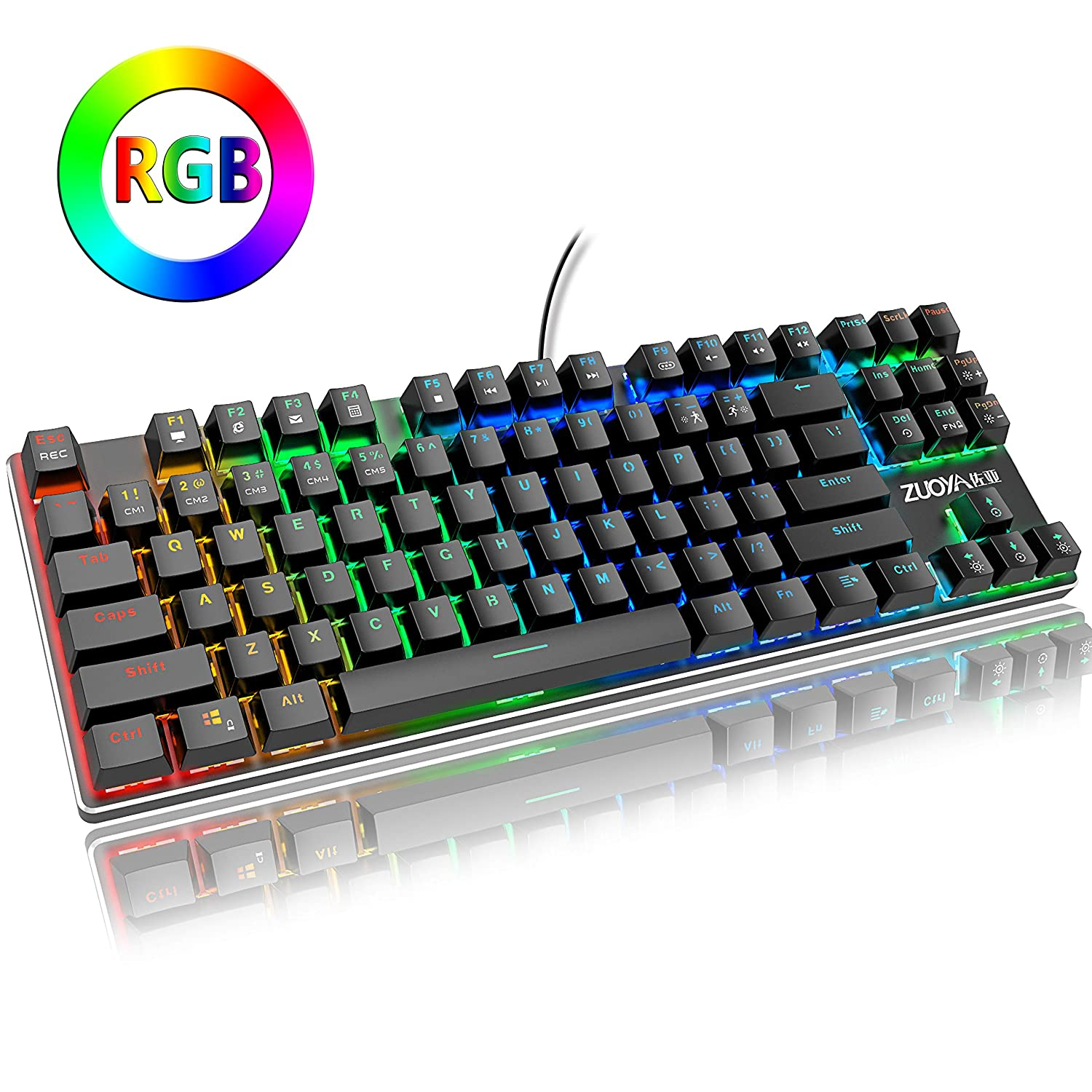 ZUOYA RGB Mechanical Gaming Keyboard Small Compact 87 Keys Anti-ghosting RGB LED Backlit Keyboard with Blue Switch Wired USB for Windows PC Laptop Computer Game RGB Backlight Blue Switch