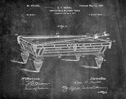 Amazoncom Billiard Table Chalkboard Patent Art Print - Pool table chalk board