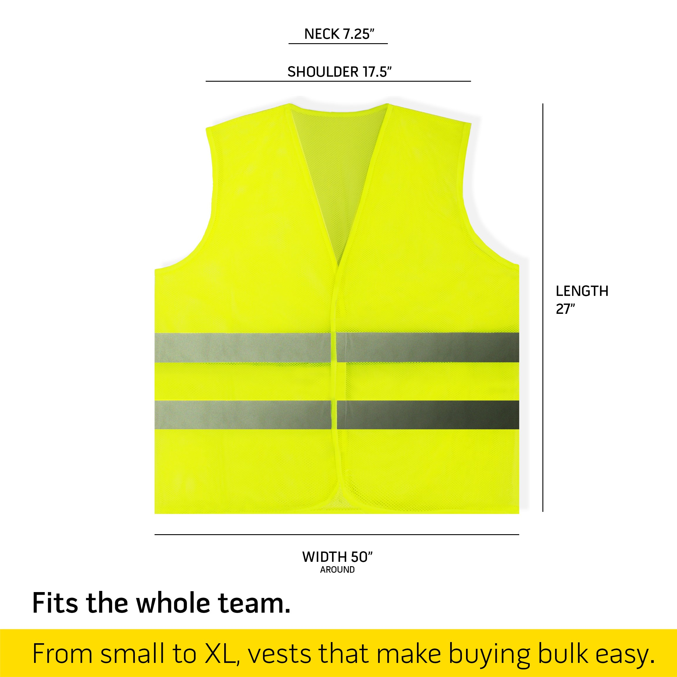 PeerBasics, 10 Pack, Yellow Reflective Safety Vest, Silver Strip, Bright Breathable Neon Yellow (Mesh, 10) by PeerBasics (Image #6)