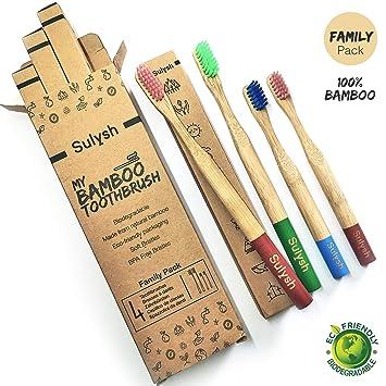Paquete Familiar de 4 Cepillos de dientes madera de bambú 100% biodegradable Compostable ♻ para