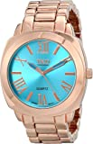TKO ORLOGI Women's Big Turquoise Face Rose Gold-Tone Boyfriend Oversized Watch