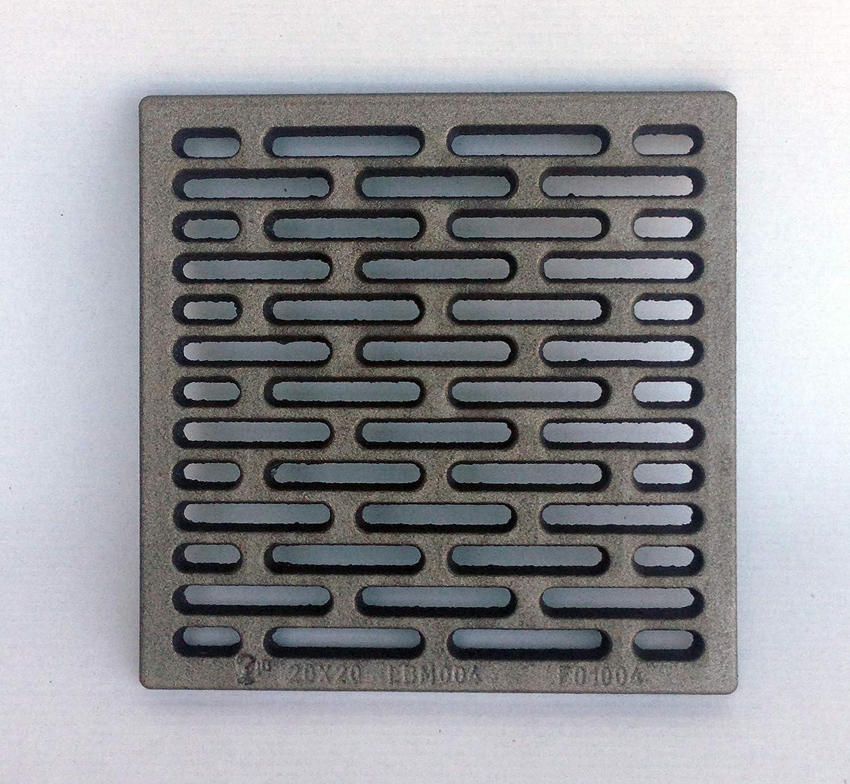 Parrilla de hierro fundido 20 x 20 cm para ventilación de estufas, chimeneas, barbacoas, útil como base de apoyo de leña