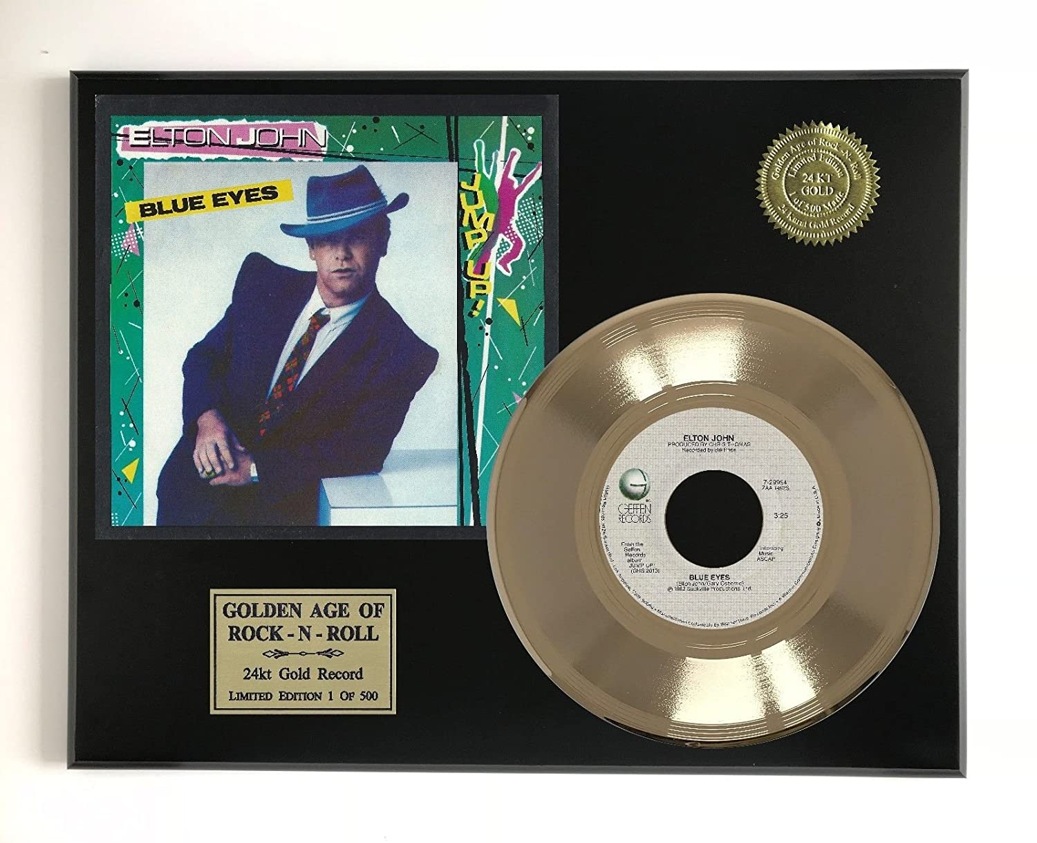 Elton John - Blue Eyes Ltd Edition Gold 45 Record Display M4