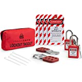 TRADESAFE Lockout TAGOUT KIT with Hasps, Loto Tags, Red Safety Padlocks | OSHA Compliance for Electrical Lock Out Tag…