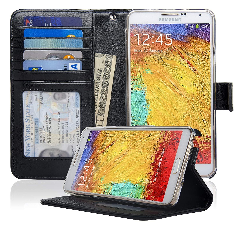 more photos 05791 9f384 Navor Protective Flip Wallet Case Compatible for Samsung Galaxy Note 3 -  Black (N3OBK)