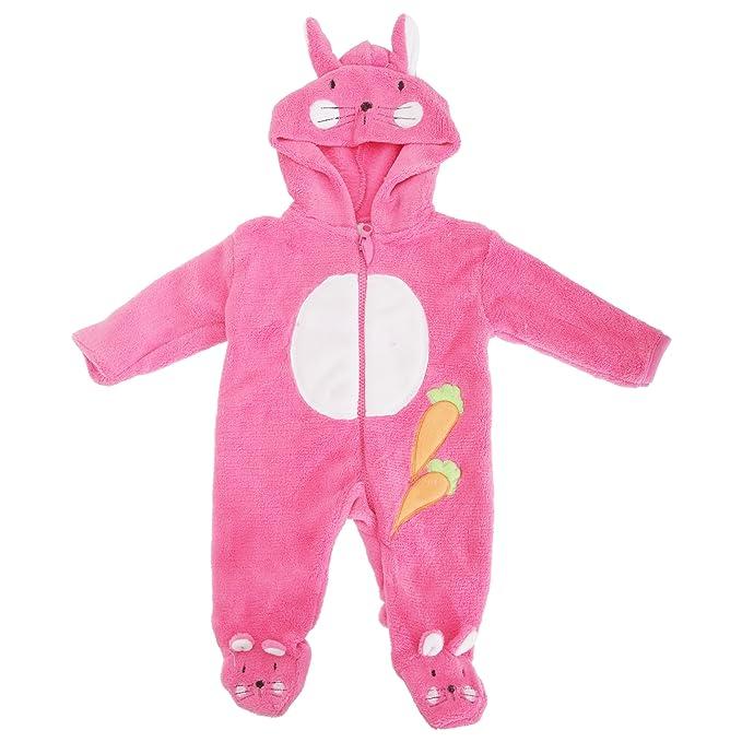 Bebé niñas forro polar conejo con capucha invierno Body de/Pelele rosa rosa 2 mes