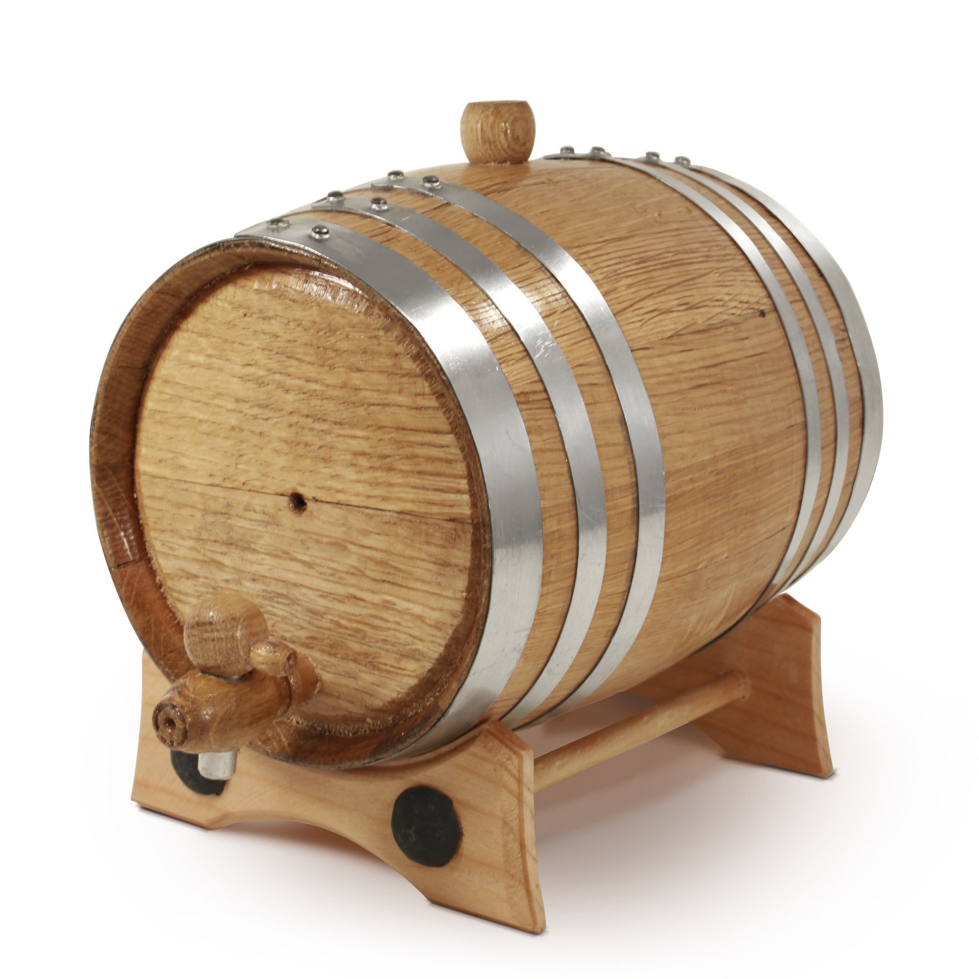 1 Liter Whiskey Oak Barrel for Aging – Golden Oak Barrel with Polished Steel Hoops – Aging and Recipes Digital Guide included