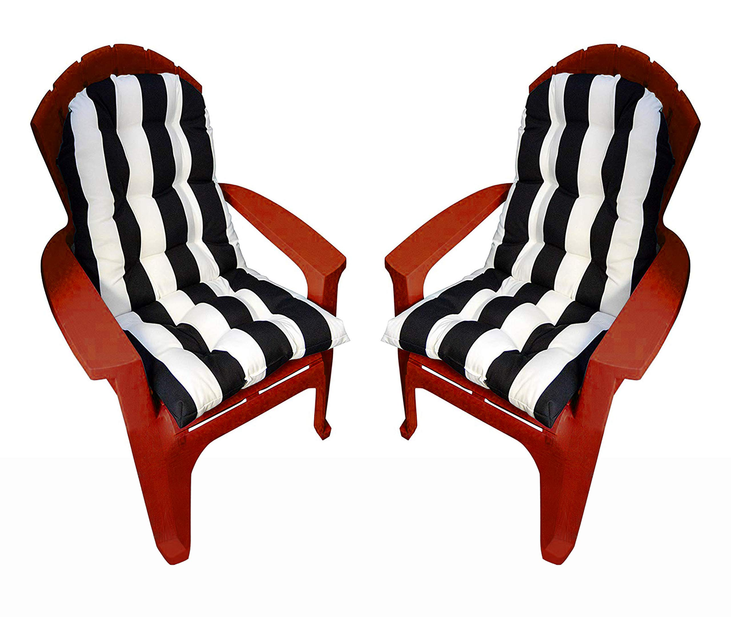 Set of 2 Outdoor Tufted Adirondack Chair Cushion - Black & White Stripe