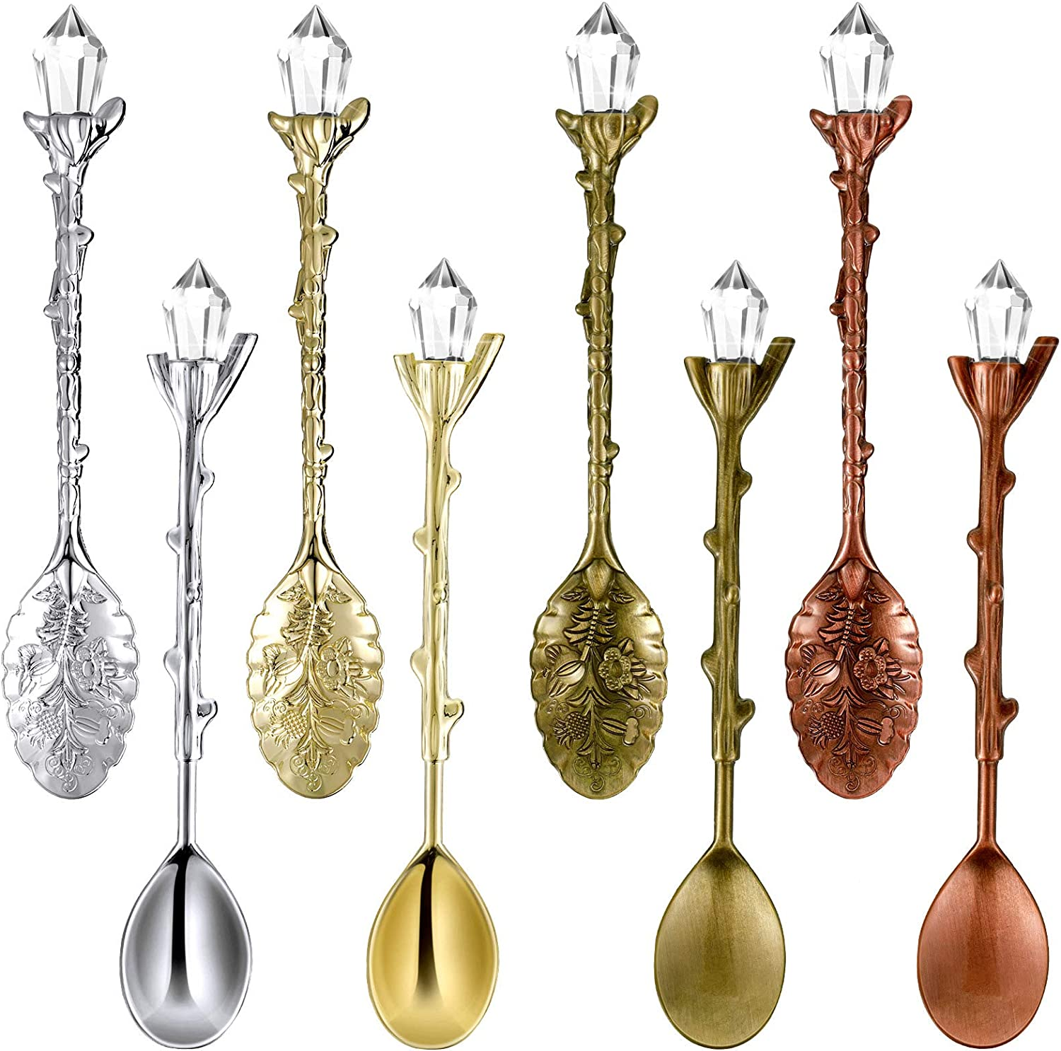 Mimorou 8 Pieces Retro Coffee Teaspoon Mini Ice Cream Dessert Crystal Spoon Fancy Little Spoon Scoop Crystal Stirring Spoon Dessert Ice Cream Scoop for Cafe Home Office Bar Gadgets, 2 Styles, 4 Colors