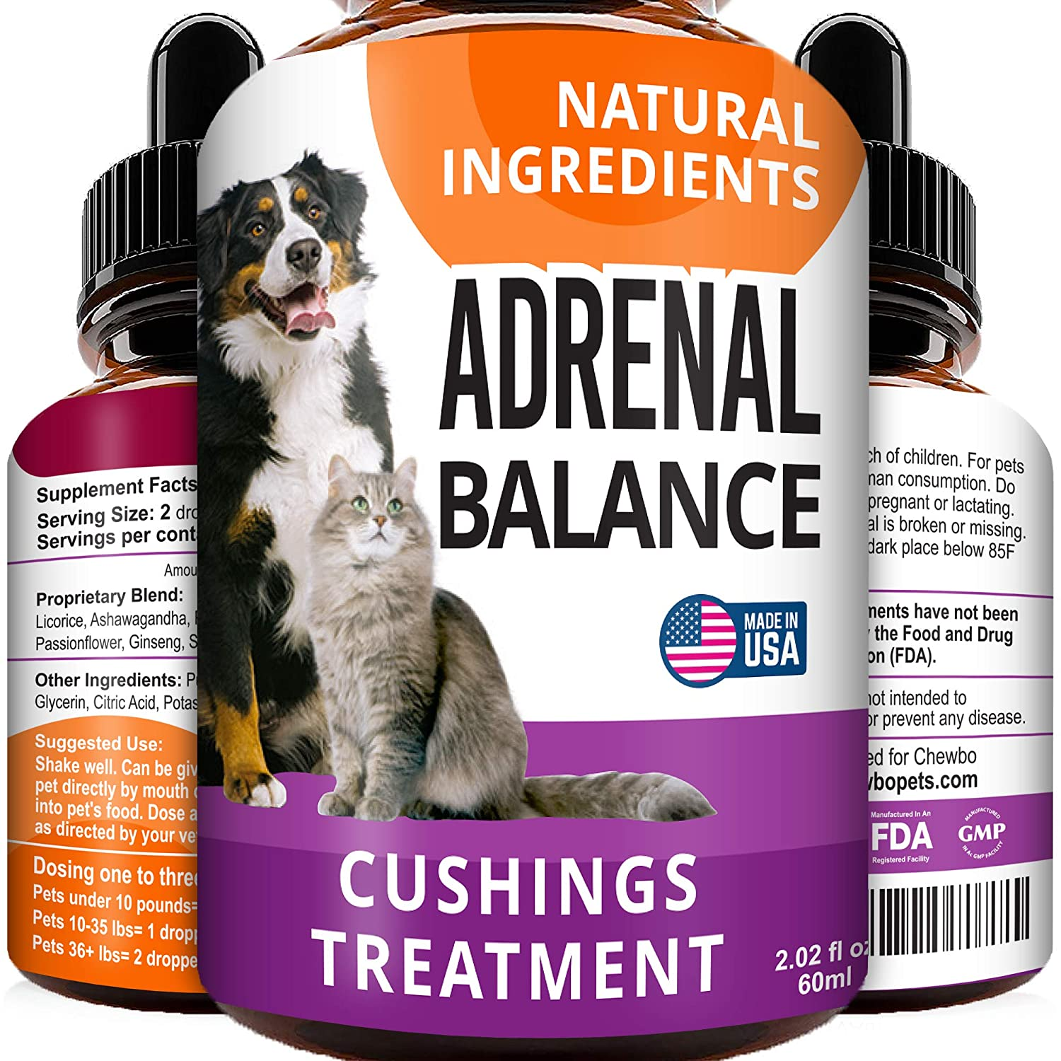 Adrenal Balance for Dogs and Cats - Cushings Treatment for Pets, Adrenal Support w/Ashwagandha, Licorice Root, Rhodiola Rosea - Herbal Drops